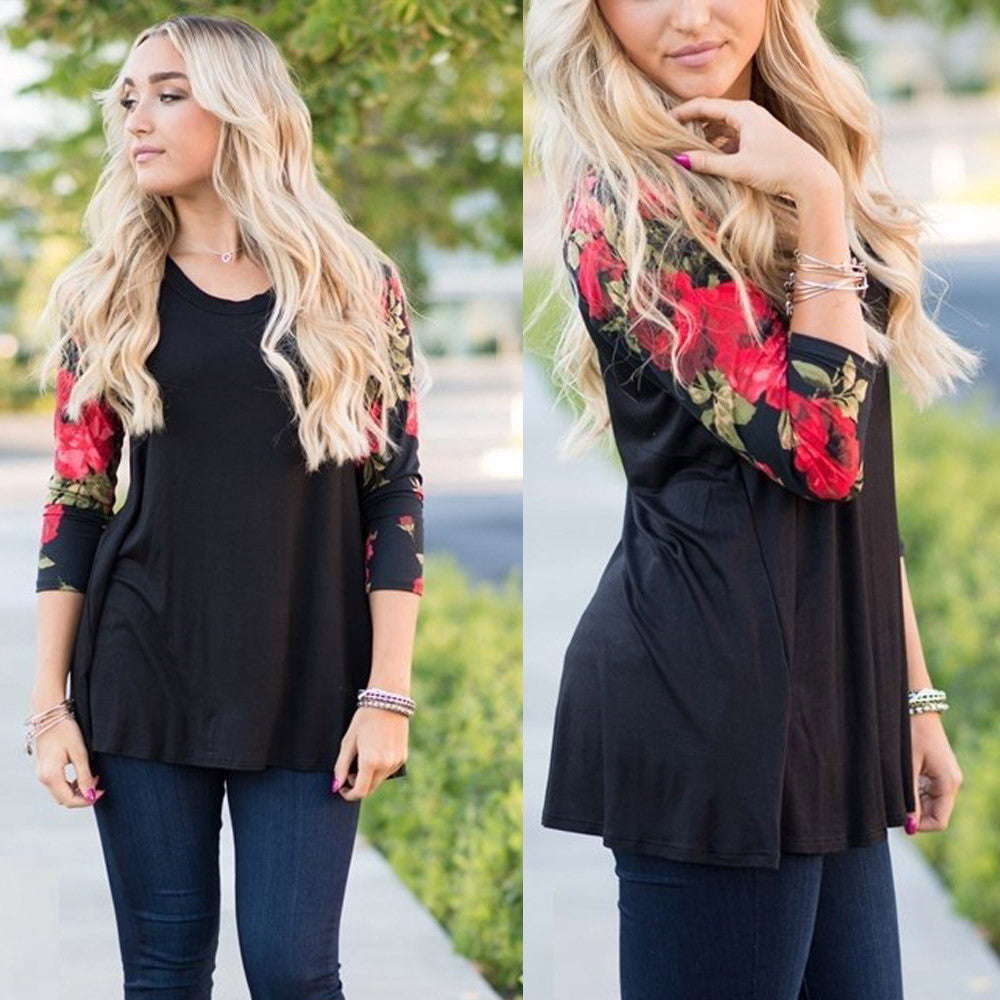 Plus Size Long Sleeve O-Neck Floral Print Shirt Blouse