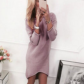 Solid O-Neck Sweater Long Casual Long Sleeve Pullover Dress