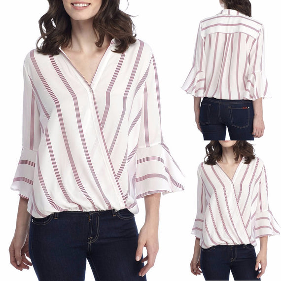 Sexy Ladies Casual Striped Shirt Three Quarter Sleeve Top Tank Blouse-Dee SuSu-S-Dee SuSu