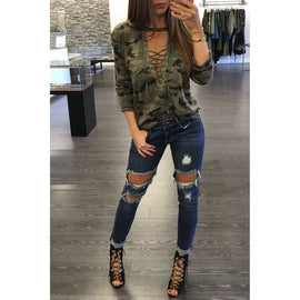 Long Sleeve Slim Casual Camouflage Print Tops Blouse