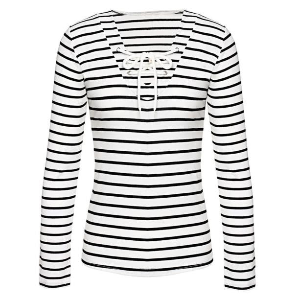Stripe Long Sleeve Casual T-Shirt Blouse