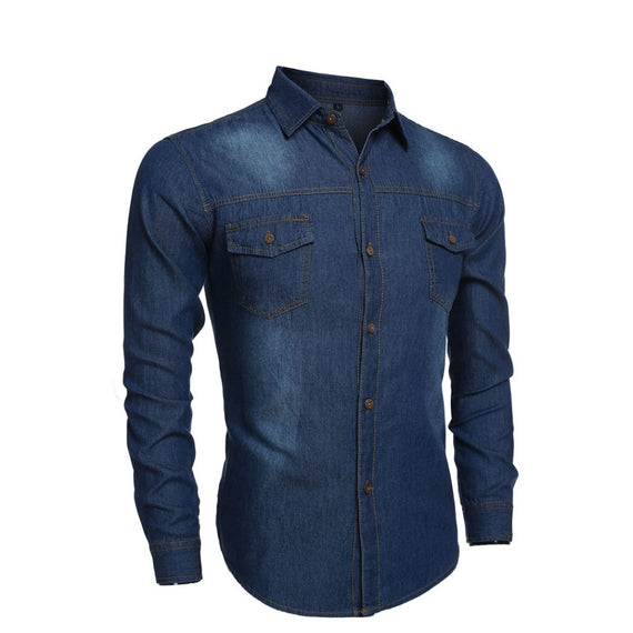 Turn-down Collar Button Pockets Long Sleeve jeans shirt-Dee SuSu-Dee SuSu