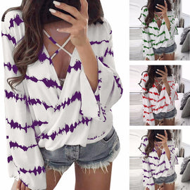 Loose Long Sleeve Shirt Stripe Overlapping Chiffon Casual Blouse