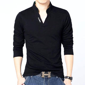 Solid Color Long Sleeve Slim Fit Cotton T-Shirt-Dee SuSu-Black-Asian Size M-Dee SuSu