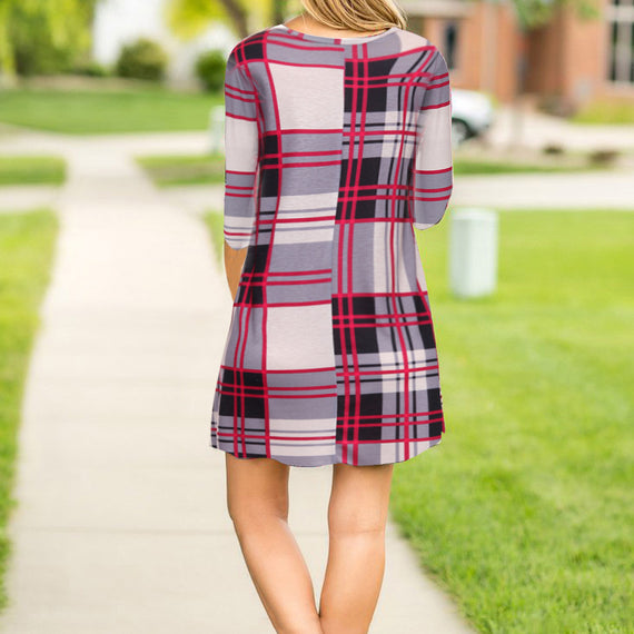Plaid Print Scoop Neck Casual Swing Tunic Mini Dress With Pockets-Dee SuSu-Dee SuSu