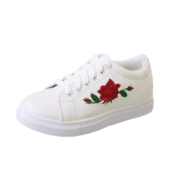 Women's Comfortable Straps Embroidery Flower Sneakers-Dee SuSu-Dee SuSu