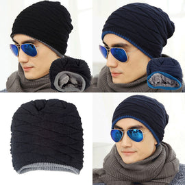 Men's Soft Lined Thick Knit Skull Warm Cap