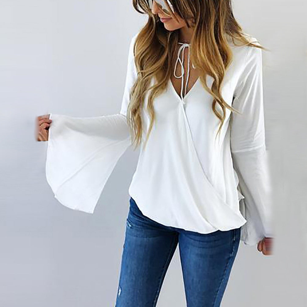 Long Flare Sleeve White Chiffon Sexy V Neck Strap Blouse-Dee SuSu-S-Dee SuSu