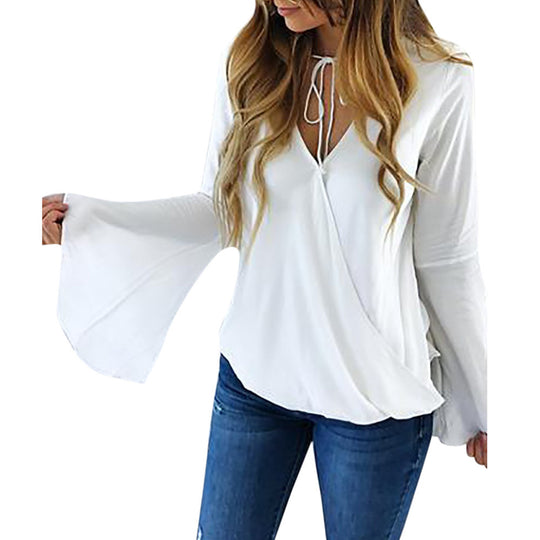 Long Flare Sleeve White Chiffon Sexy V Neck Strap Blouse-Dee SuSu-Dee SuSu