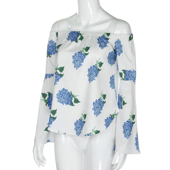 Long Sleeve Off Shoulder Floral Printed Blouse Casual Tops-Dee SuSu-Dee SuSu