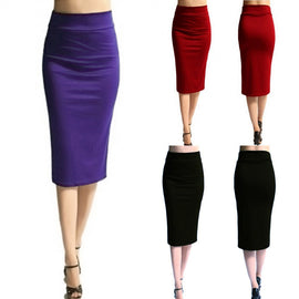 Women Solid High Waist Stretchy Slim Knee-Length Skirt