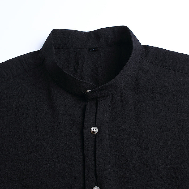 Slim Fit Mandarin Collar Casual Shirt Men-Dee SuSu-Dee SuSu