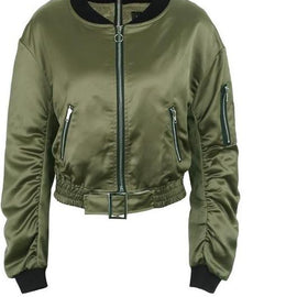 Waist belt bomber zipper basic army biker jacket outerwear-Dee SuSu-Army Green-S-Dee SuSu