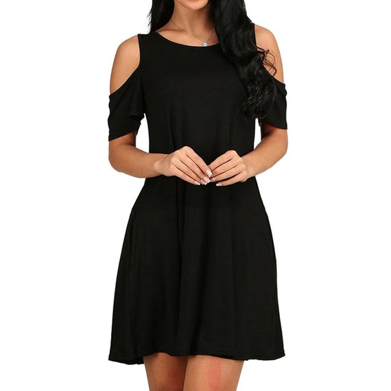 Mini Flare Cold Shoulder Swing Dress With Pockets-Dee SuSu-Black-S-Dee SuSu