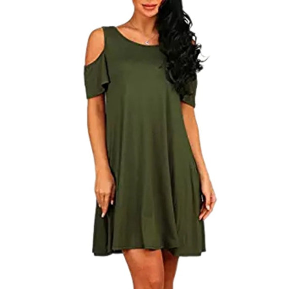 Mini Flare Cold Shoulder Swing Dress With Pockets-Dee SuSu-Army Green-S-Dee SuSu