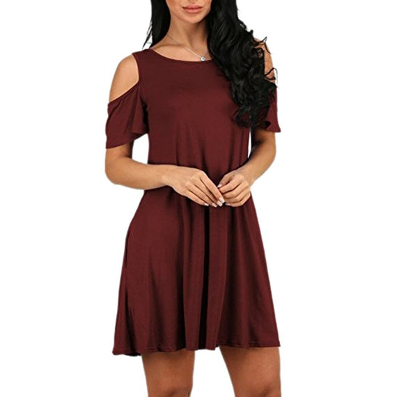 Mini Flare Cold Shoulder Swing Dress With Pockets-Dee SuSu-Burgundy-S-Dee SuSu