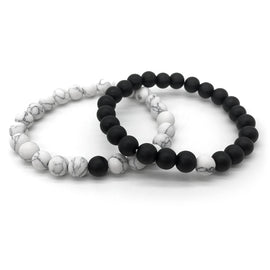 2Pcs Classic Natural White and Black Yin Yang Beaded Bracelets
