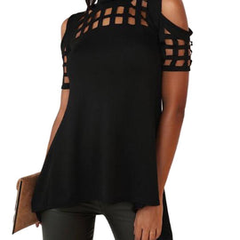 Short Sleeve Off Shoulder Cutout Open Back Blouse