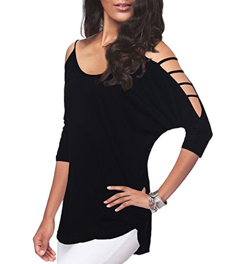Loose Hollowed Out Shoulder Three Quarter Sleeve Blouse-Dee SuSu-Dee SuSu