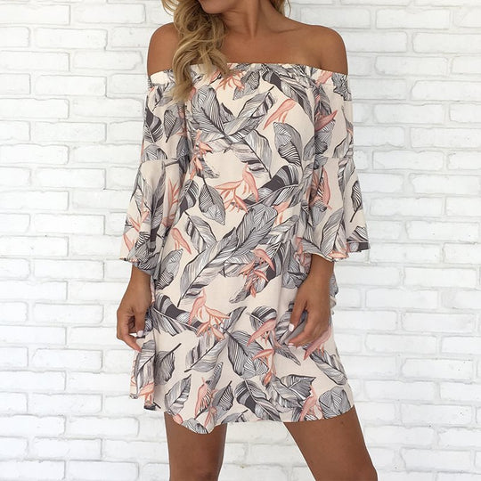 Mini Off Shoulder Floral Print Flare Sleeve Slash Neck Dress-Dee SuSu-Dee SuSu