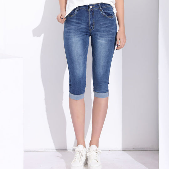 High Waist Stretch Knee Length Denim Jeans-Dee SuSu-Dee SuSu