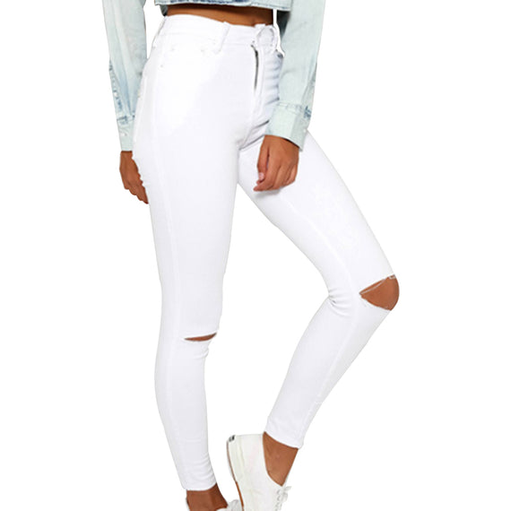 Ripped Pencil Cool Denim High Waist Jeans-Dee SuSu-Dee SuSu