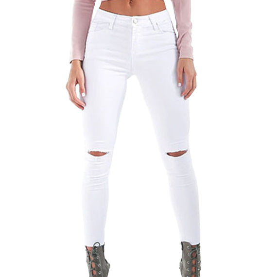 Ripped Pencil Cool Denim High Waist Jeans-Dee SuSu-W8101WT-S-Dee SuSu