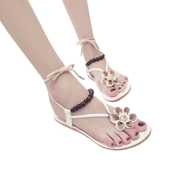 Flower Round Toe Flat Heel Sandals Slipper Flip Flops
