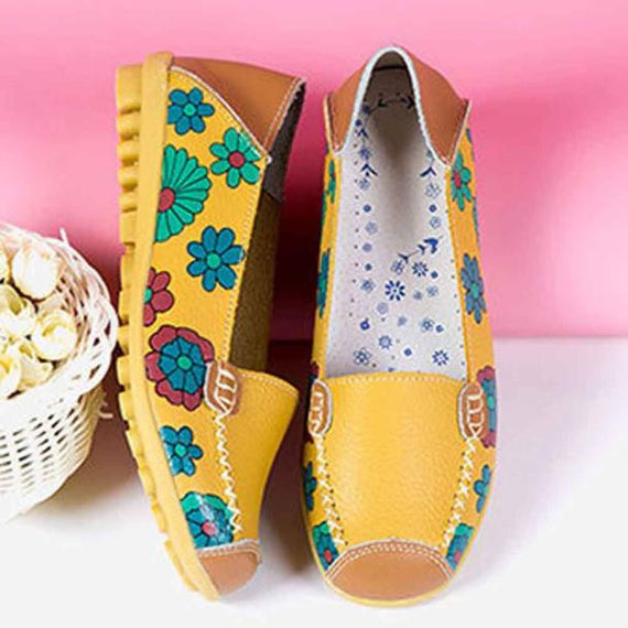 Leather Soft Leisure Flats Casual Loafers Shoes-Dee SuSu-Blue-35-Dee SuSu