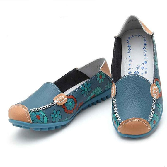 Leather Soft Leisure Flats Casual Loafers Shoes-Dee SuSu-Blue-37-Dee SuSu