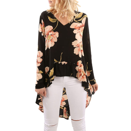 Floral Print Long Sleeve Casual Ruffles Irregular Blouse