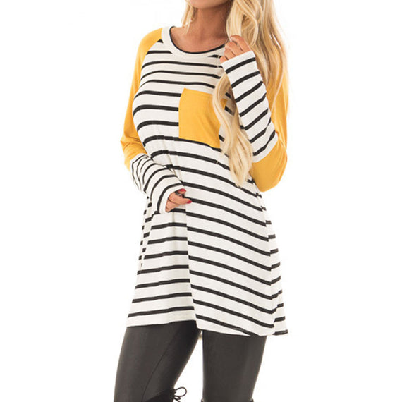 Stripe Printing Pocket Long Sleeve Tops Blouse