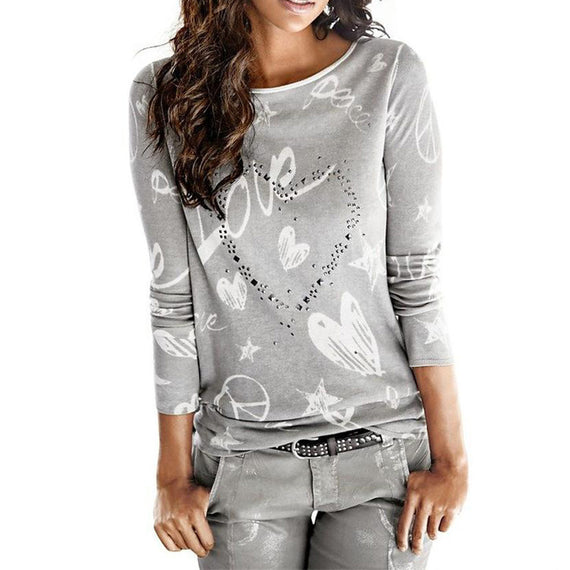 Women's Long Sleeve Letter Printed Casual Blouse