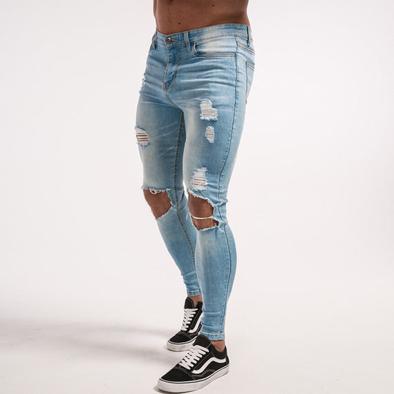 Skinny ripped Hole Distressed Tight Slim Fit Jeans-Dee SuSu-ice blue hole-28-Dee SuSu