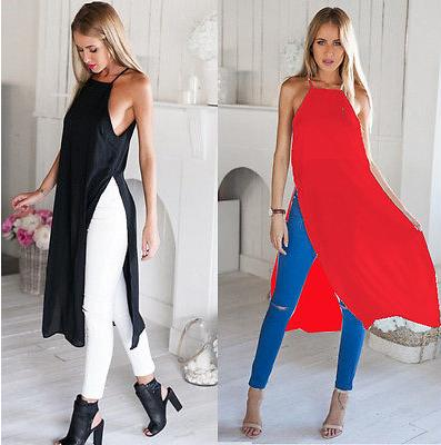 Two Side High Split Chiffon Semi Sheer long Blouse-Dee SuSu-Dee SuSu