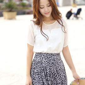 Mini Fashion High Waist Pleated Flower Leopard Print Skirt-Dee SuSu-Dee SuSu