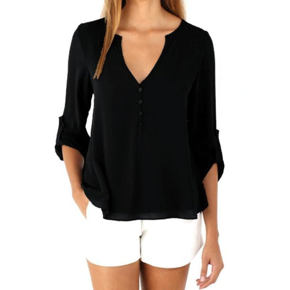 Loose Long Sleeve Chiffon Blouse Shirt