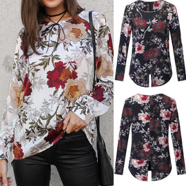 Long Sleeve Printed Loose Tops Blouse