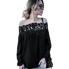 Off Shoulder Lace Long Sleeve Casual Blouse