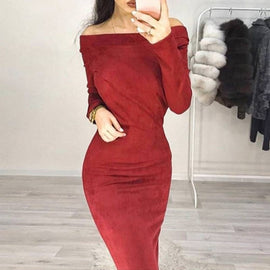 Sexy Bodycon Long Sleeve Off Shoulder Dress