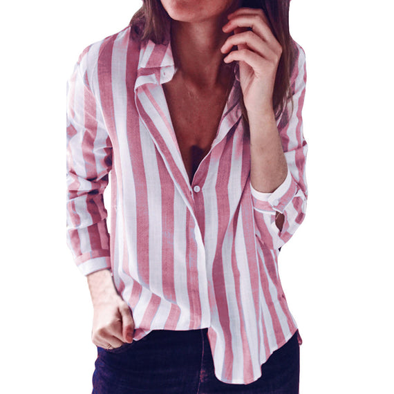 Striped Casual Loose Long Sleeve Top Blouse