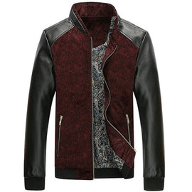 Leather Patchwork Men's Autumn Fashion Slim Fit Jacket