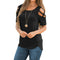 Short Sleeve Strappy Shoulder T-Shirt Tops