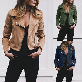 Ladies Retro Rivet Zipper Up Bomber Jacket