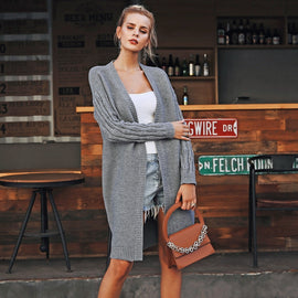 knitted long Loose cardigan