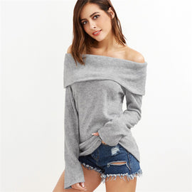 Women Off Shoulder Loose Long Sleeve Knitted Sweatshirt