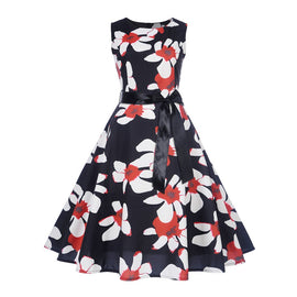 Vintage Sleeveless O Neck Printed Bow Dress