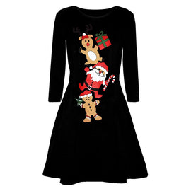 Women Christmas Printed Long Sleeve Dress