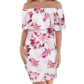 Sexy Printing Off Shoulder Short sleeve Princess Dress