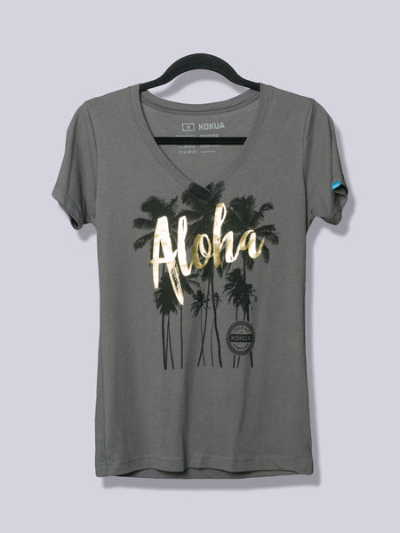 Women's Aloha Palm Gold Foil on Dark Gray V-Neck